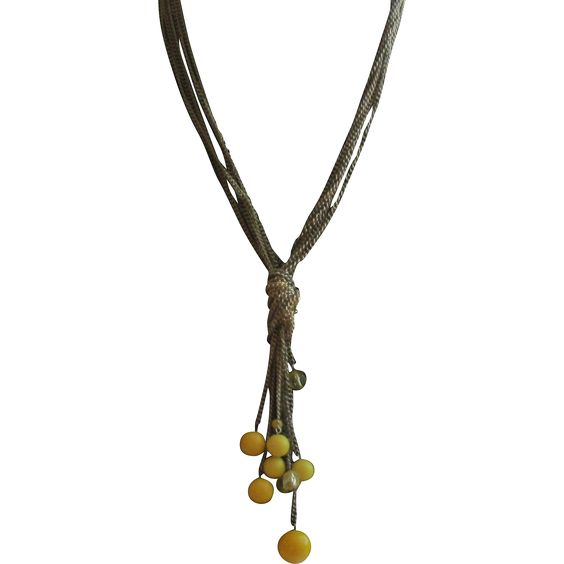 Chunky Long Chain Necklace with Yellow Beads Vintage Jewelry under $25 - search www.rubylane.com @rubylanecom