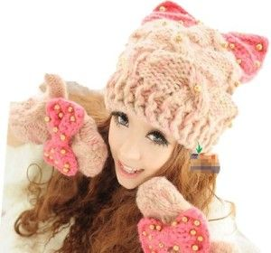 gorro mujer tejido de lana de gato oreja con diamantes de imitacion de accesorios de moda informal (rosa blanca x)