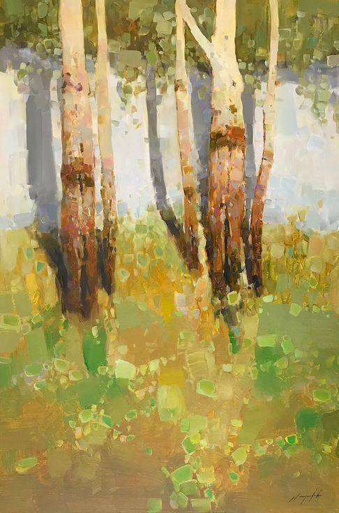 Birches Trees Landscape Original Oil Painting One Of A Kind Signed Painting Landscape Paintings Art