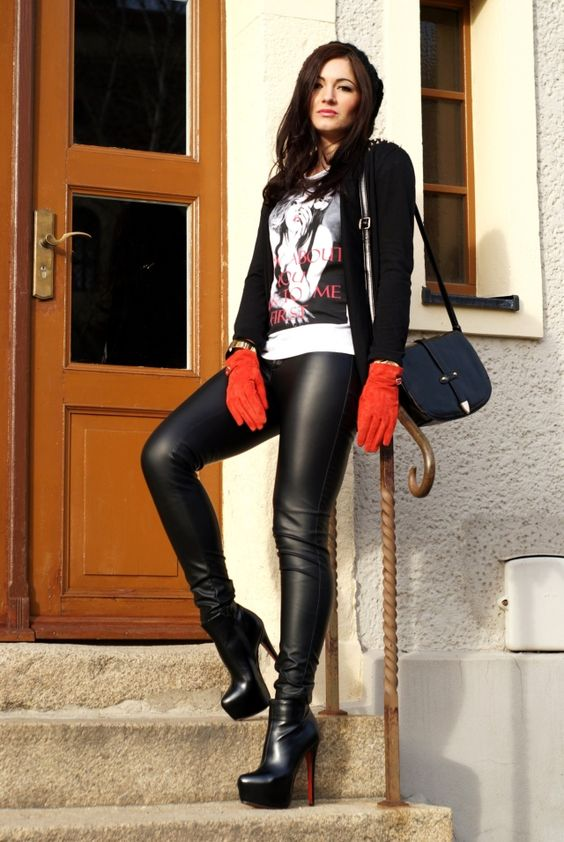 Red Gloves And Louboutin Leather Trousers Leggins Ii