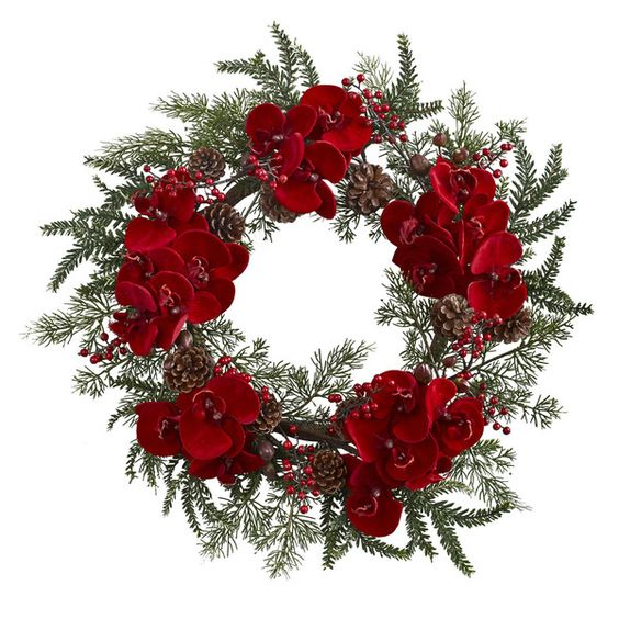 "Prepare for the holiday season in style with this beautiful (and festive) Orchid, Berry & Pine Holiday Wreath 22"". Adorned with rich red phalaenopsis orchid:"