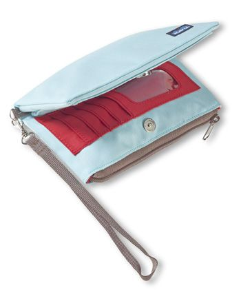 KAVU Clutch-n-go-Sky Blue-100% Polyester.   Bi-fold purse with snap closure, external strap to clutch, removable wrist loop, zip coin pouch, credit card and ID slots and internal zip pocket for cash, receipts and the phone number for that cute barista you see every morning. Folded dimensions: 4.5