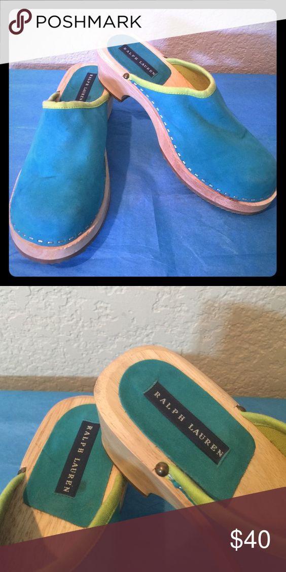 Ralph Lauren Aqua  Leather Suede Clogs Mules 8B Ralph Lauren Aqua  Leather Suede Clogs Mules 8B Ralph Lauren Shoes