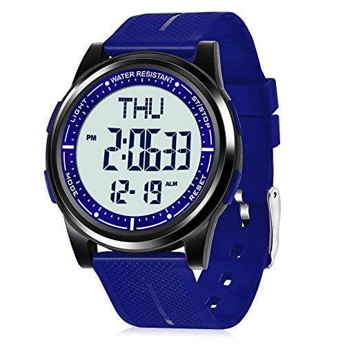 Wifort Reloj Digital Para Hombre Mujer 5atm Impermeable Esfera Grande Ultra Delgado Con Cronometro Cuenta Regresiva A En 2020 Reloj Digital Reloj Deportivo Cronometro