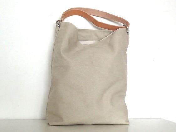Canvas Tasche *Tessa* hellbeige, mit Leder Schulterriemen, Umhängetasche, Beutel, Einkaufstasche, Badetasche, Markttasche, Shopper