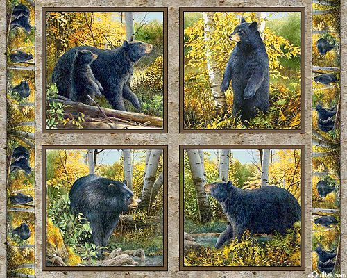"Basic Black - Bear Cub Lessons - Lt Brown - 36"" x 44"" PANEL"