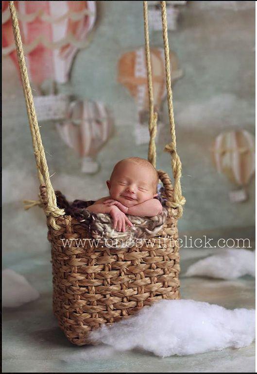 Hot Air Balloon Baby newborn pose basket