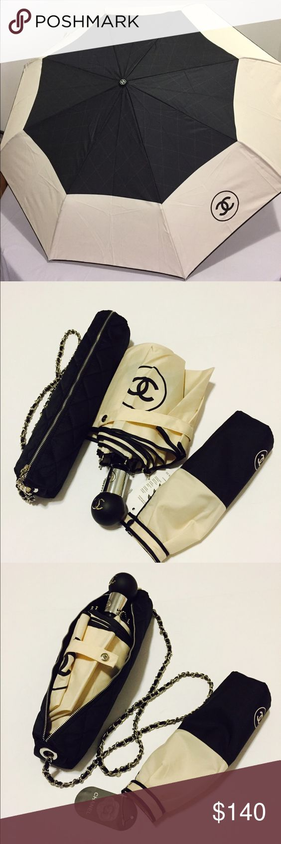 "Chanel Automatic Umbrella New with Sleeve and Box Auth Chanel automatic umbrella, brand New with tag. Comes with the carrying case and a Chanel box. The case has a chain, so you can wear it crossbody. Color - cream/black. Looks chick! Umbrella is 39"" in diameter when open. The Chanel box is not in the photo but is included. Chanel Accessories Umbrellas"