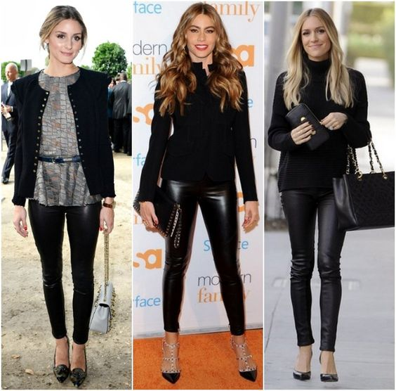 How to wear Faux leather leggings celebrity style-  Get sofia vergara look for only $13 & FREE Shipping.  LOVE AMAZON!