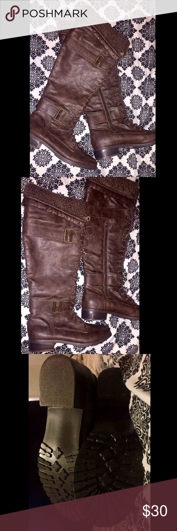 Tall Brown Boots Worn twice, excellent condition JustFab Shoes Lace Up Boots