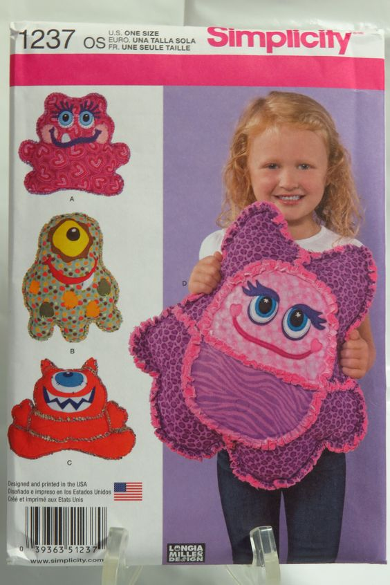 Simplicity 1237 Rag Quilted Monster Pillows