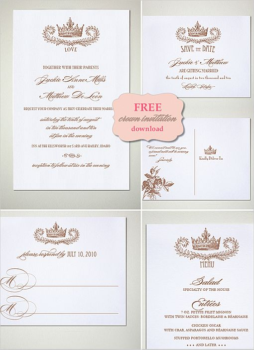Crown free wedding printables wedding do it yourself and postcards diy do it yourself crown invitation suite save the date postcard wedding solutioingenieria Choice Image