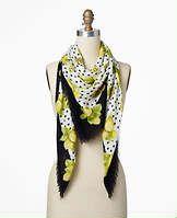 Dotted Lemon Print Scarf - Lemons dot a striking black and white palette for an elegant twist on summer style.