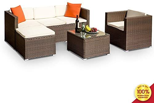 Sectional Sofa Chairs Cushioned Couch, Rattan Patio Furniture