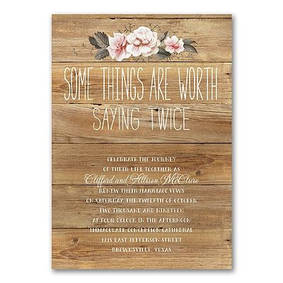Get everyone together to celebrate with you by sending this vow renewal #invitation with a rustic wood and floral design.