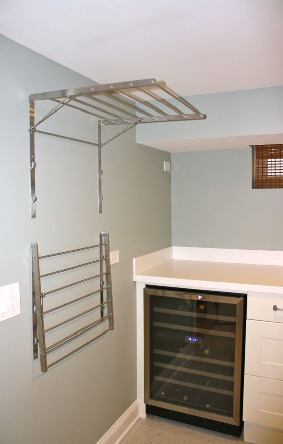 Ikea Grundtal drying racks--laundry room must-have... wonder if the wine fridge comes with it?