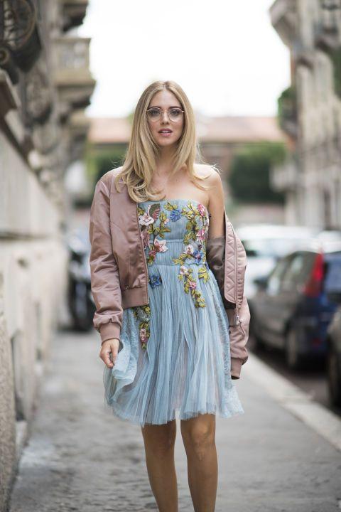 tule dress with bomber jacket