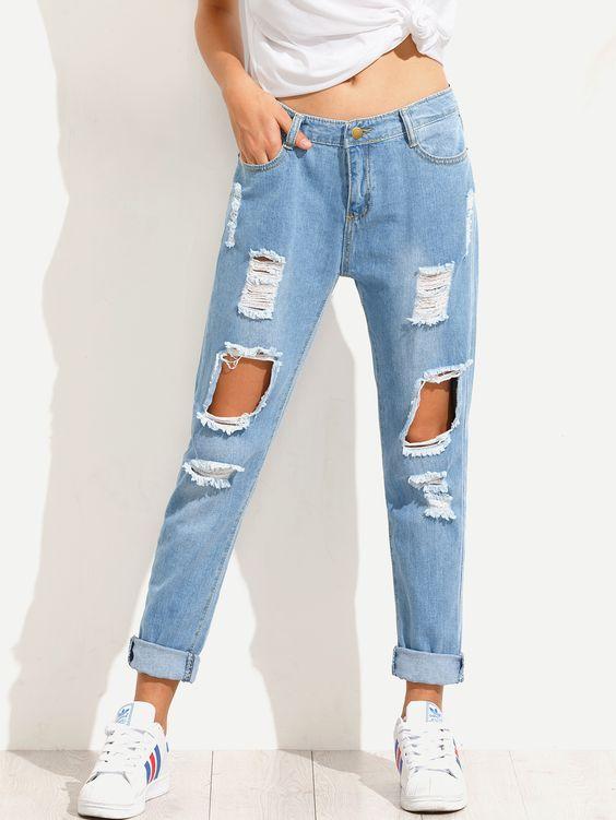 tự làm quần jeans rách độc đáo