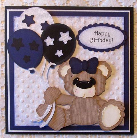 """Happy Birthday"" Bear Paper Piecing Card"