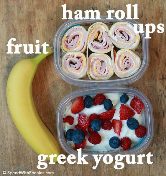 Here are our favorite kid approved, sandwich-free, lunchbox ideas! Easy ham tortilla roll ups with yogurt and fruit.