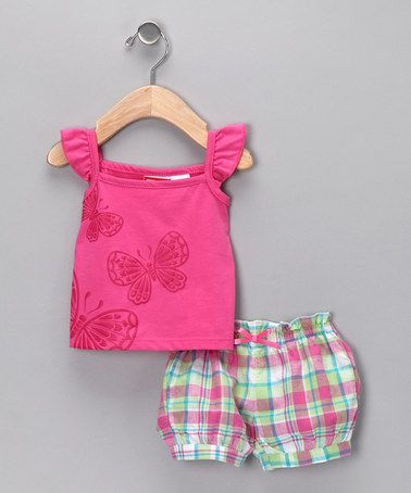 Take a look at this Fuchsia Plaid Butterfly Tank & Shorts - Toddler  by BT Kids on #zulily today!
