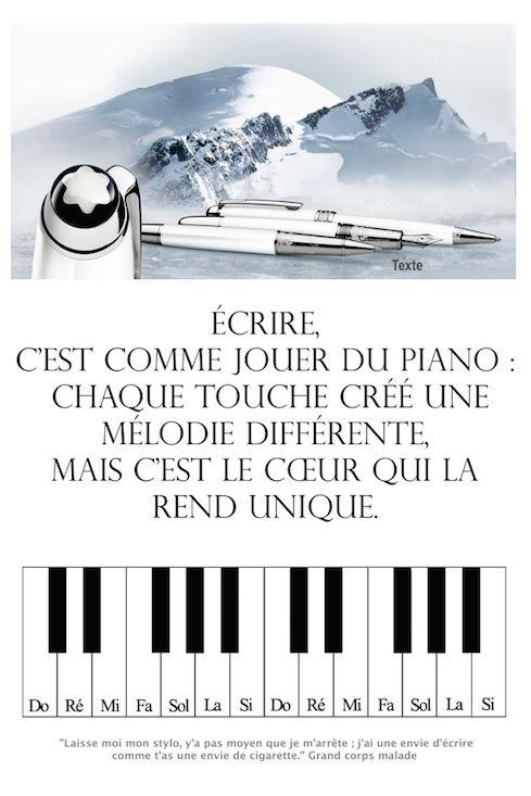 Écrire, c'est comme jouer du piano  Trouvez encore plus de citations et de dictons sur: http://www.atmosphere-citation.com/musique/ecrire-cest-comme-jouer-du-piano-chaque-touche-cree-une-melodie-differente-mais-cest-le-coeur-qui-la-rend-unique.html?