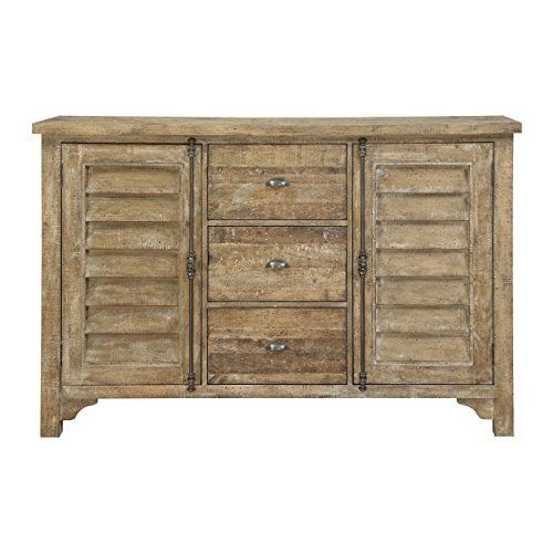 Emerald Home Interlude Sandstone Gray Buffet With Louvered Doors