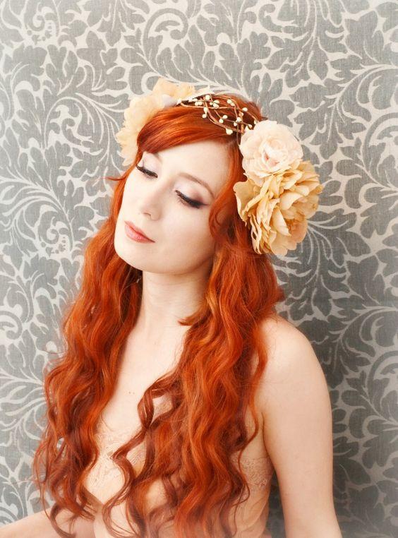 boho wreath, art nouveau head piece, flapper flower crown, wedding hair acessory - lore. $80,00, via Etsy.