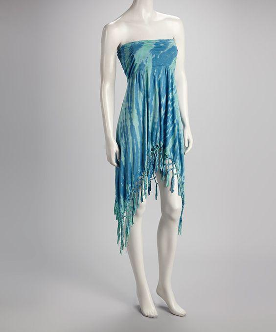 Look what I found on #zulily! Jayli Blue Tie-Dye Convertible Handkerchief Hem Skirt - Women by Jayli #zulilyfinds