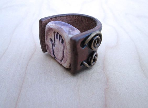 Hand Painted Leather Ring Women's Ring Size 7 Hand by visionroot, $30.00