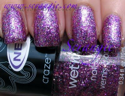 """wet n wild """"glitz"""" - purple, blue, pink and silver glitter in a clear base"""