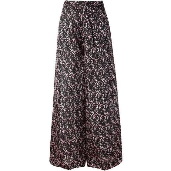 Rosie Assoulin wide leg trousers (2,035 CAD) ❤ liked on Polyvore featuring pants, black, silk pants, black trousers, wide-leg pants, black silk pants and wide leg trousers