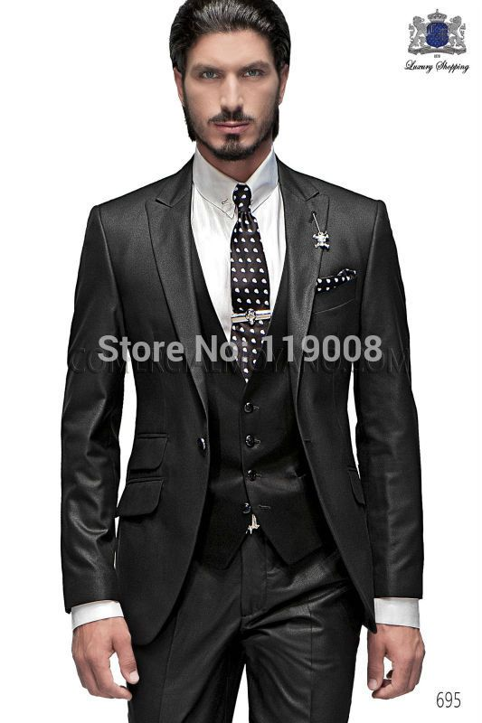 Best Selling 2016 Custom Business Mens Suits Italian Black Wedding