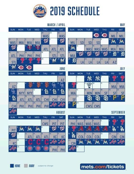 Ny Mets 2019 Schedule Ny Mets Baseball New York Mets Baseball Ny Mets