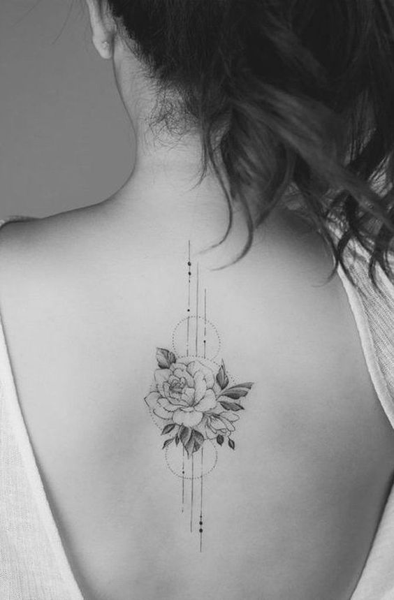 Delicate Rose Floral Flower Geometric Tattoo Ideas For Women