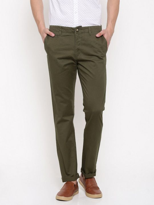 U S Polo Assn Men Olive Green Slim Fit Solid Chino Trouser 899 Latest Mens Wear Chino Trousers Mens Outfits