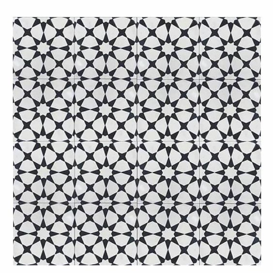 "Medina 8"" x 8"" Cement Tile in Black and White"