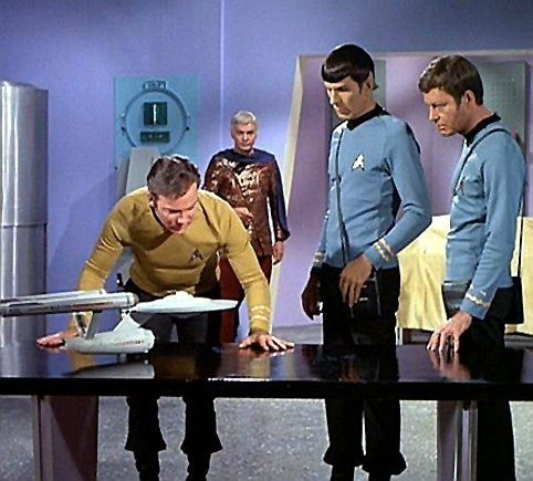 Star Trek. Another good shot of the smaller TOS Enterprise model. What episode is this?