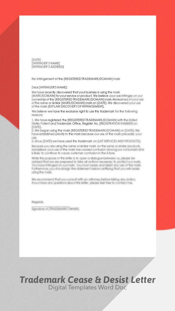 Cease and Desist Template Trademark by DigitalPublishing on Etsy - cease and desist form