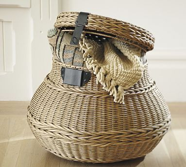 Jacquelyne Lidded Barrel Basket #potterybarn