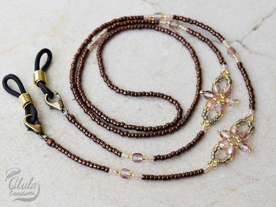 Abalorios flor cristal cuerda cadena gafas por AlulaCreations
