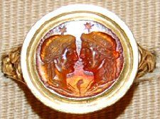 Gem, sard, 1-300, Roman Imperial, two Muses, facing each other.