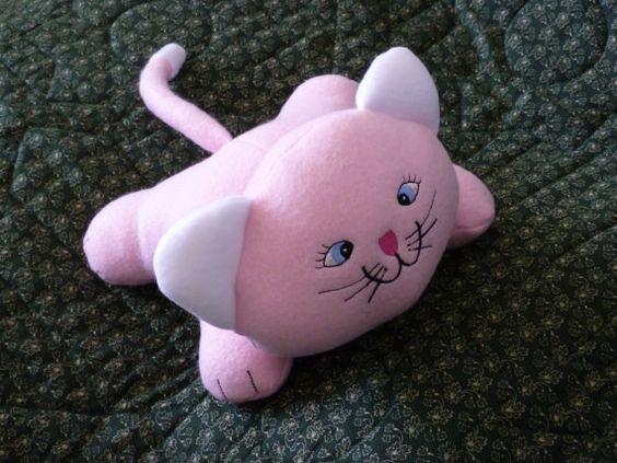 Cat Sale!-Cat Stuffed Animal-Pink Fleece/Pink Cat/Pink Kitty/Ready Made Cat Stuffed Animal/Pink Stuffed Cats