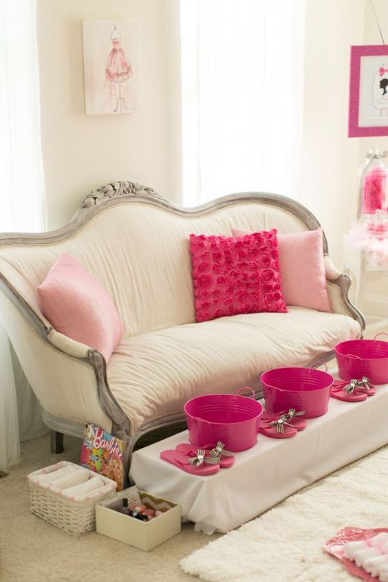 A Barbie spa pedicure station can also be tweaked to work at a shower or bachelorette party!