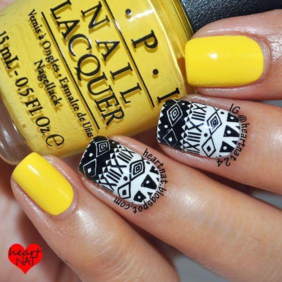 heartnat: Yellow, Black, & White Tribal Nail Art