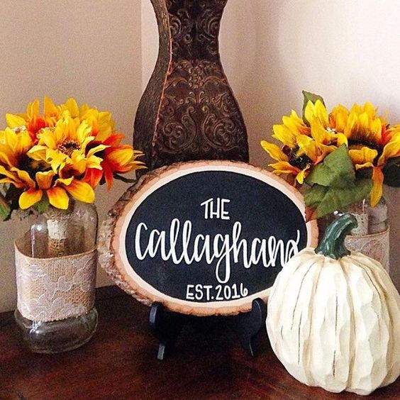 This handmade wood slice is the perfect addition to your decor this fall season!