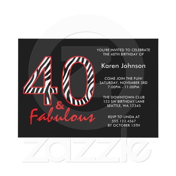 Fabulous 40th Black and Red Zebra Birthday Invitation from ... - photo#2