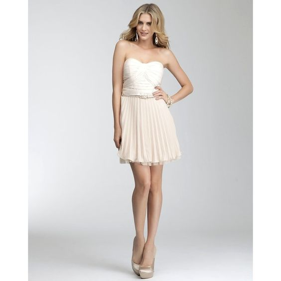Colorblock Pleated Strapless Dress found on Polyvore add a white ...