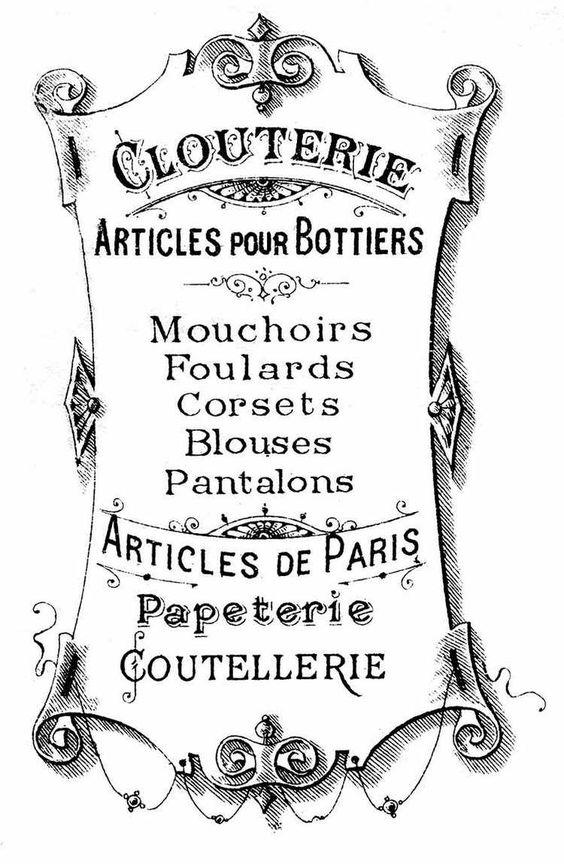 Schild mit französischen Wörtern und Vintage Schriftart