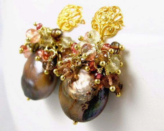SALE  Baroque pearl and gemstone cluster by elainehaydonjewelry, $94.25